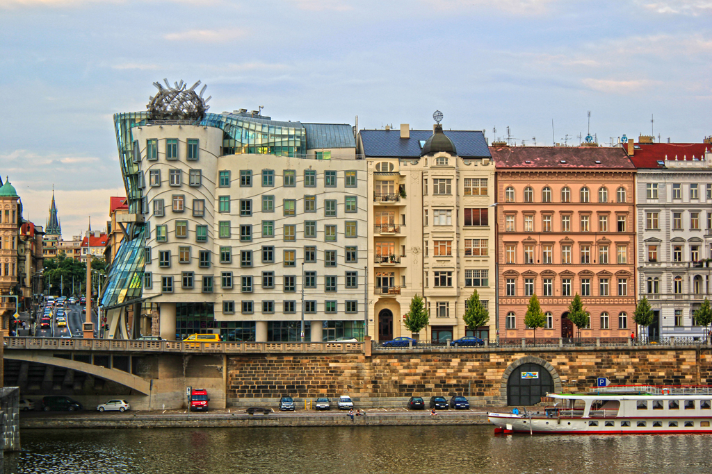 Dancing House and historic buldings from across the river